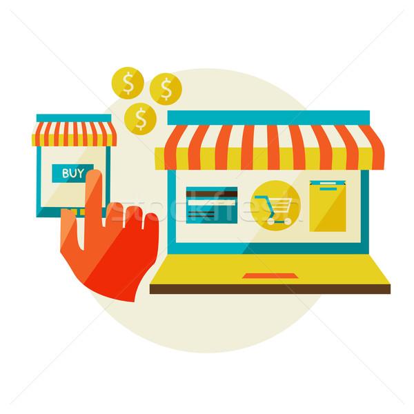 Stockfoto: Lijn · store · online · winkelen · verkoop · laptop
