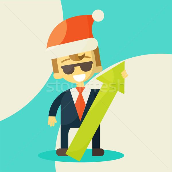 Zdjęcia stock: Szczęśliwy · biznesmen · sukces · pracy · Święty · mikołaj · hat