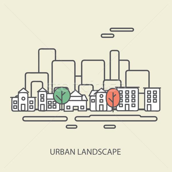 Liniowy miejskich krajobraz elegancki nowoczesne projektu Zdjęcia stock © sabelskaya