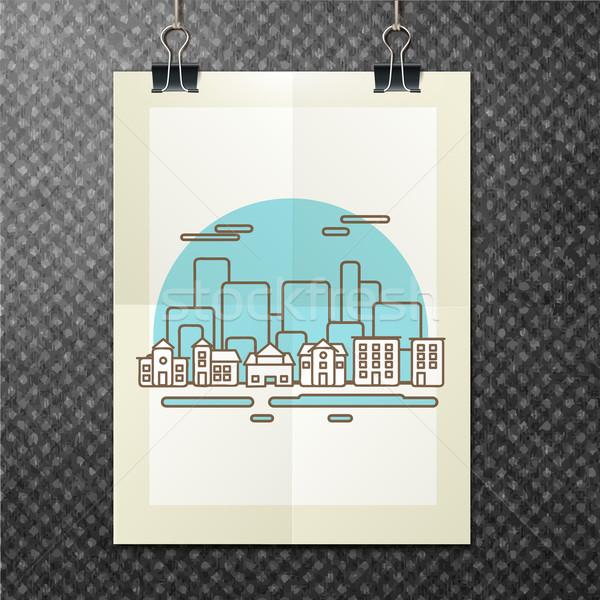 landscape brochure template. Abstract typographical flyer. Modern line design. Vector illustration. Stock photo © sabelskaya