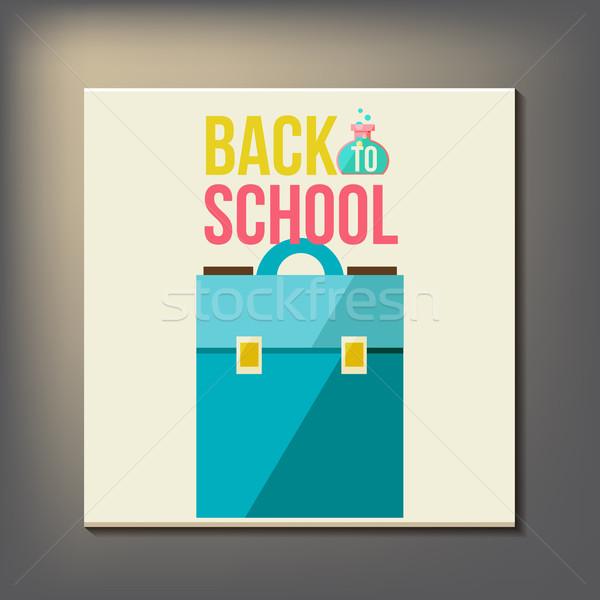 Terug naar school ontwerpsjabloon school achtergrond kunst teken Stockfoto © sabelskaya