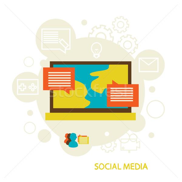 Sosyal medya iletişim insanlar mesafe izlerken filmler Stok fotoğraf © sabelskaya
