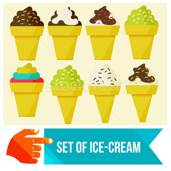 Ingesteld ijs wafel beker voedsel glas Stockfoto © sabelskaya