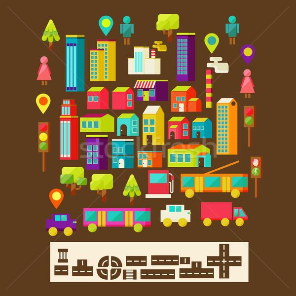 Stockfoto: Ingesteld · stad · infographics · stijl · boom · weg