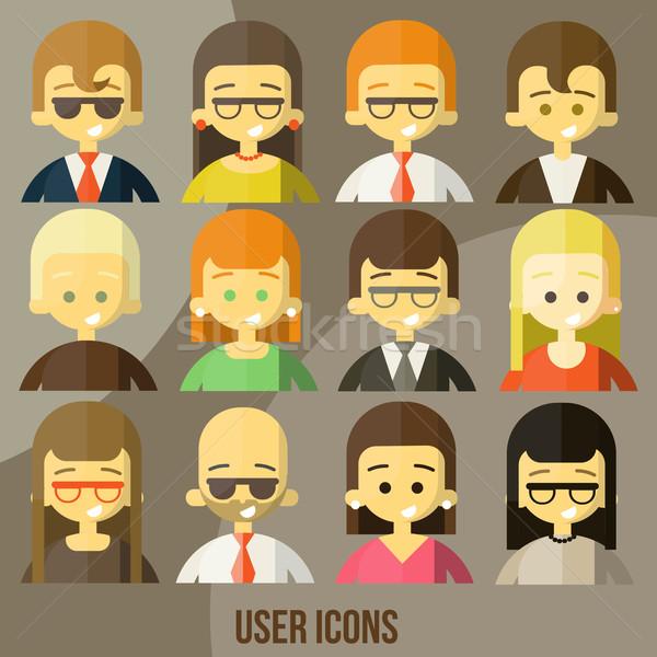 Colorful people Faces Circle Icons Set Stock photo © sabelskaya