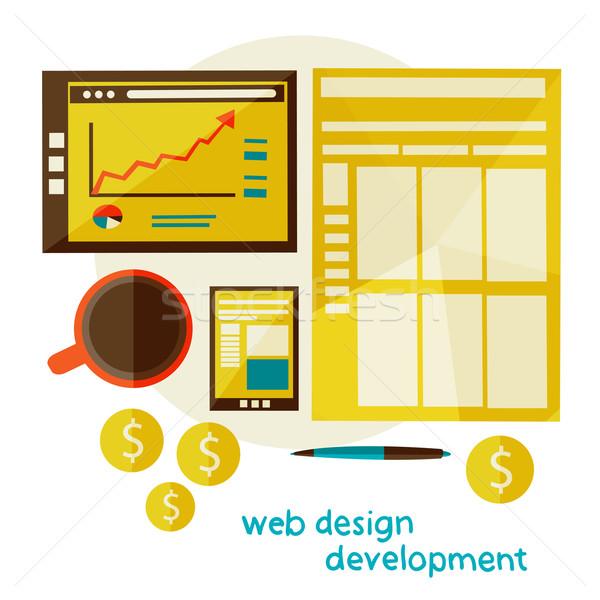 Web design desenvolvimento moderno ilustração fluxo de trabalho vetor Foto stock © sabelskaya