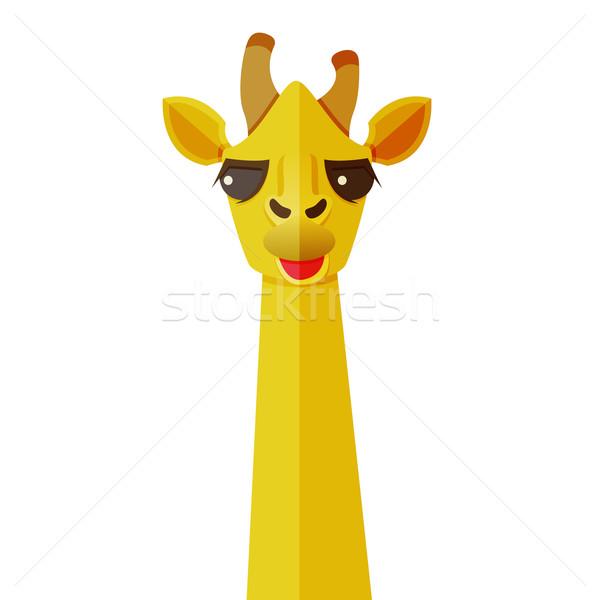Dieren ontwerp giraffe gezicht frame Stockfoto © sabelskaya