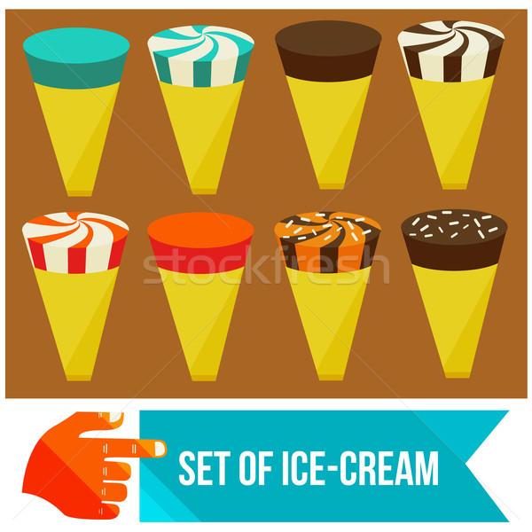 Conjunto sorvete comida vidro chocolate Foto stock © sabelskaya