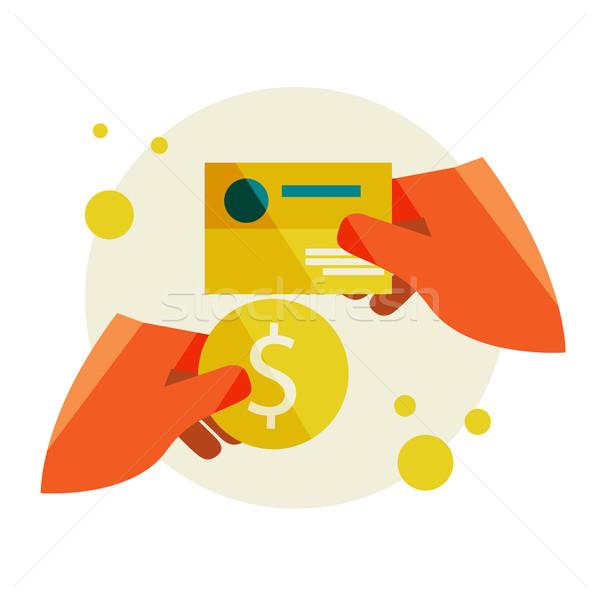 Hand visitekaartje munt kopen ontwerp Stockfoto © sabelskaya