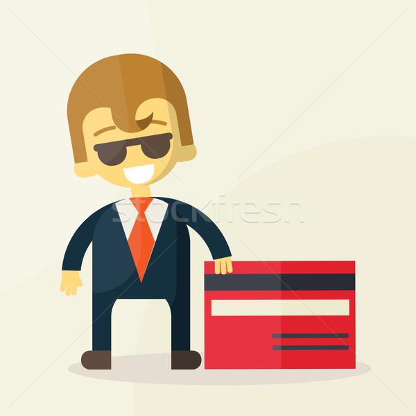 illustration of man showing credit card Stock photo © sabelskaya