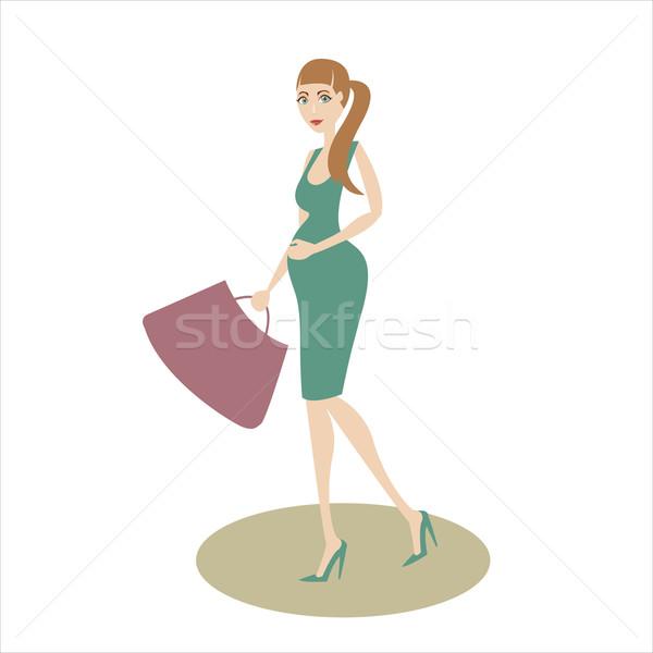 Vásárlás terhes lány gyönyörű terhes nő szeretet Stock fotó © sabelskaya