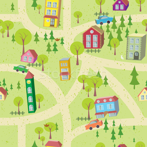 Stock photo: Cartoon map seamless pattern with houses and roads