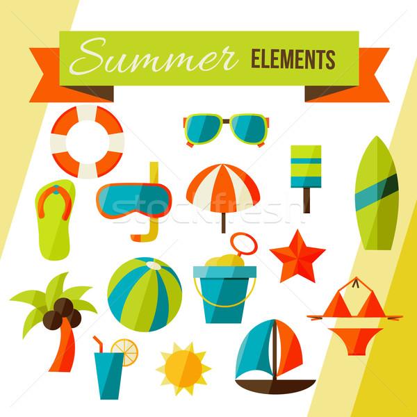Foto stock: Verão · elementos · isolado · branco · elegante · cores