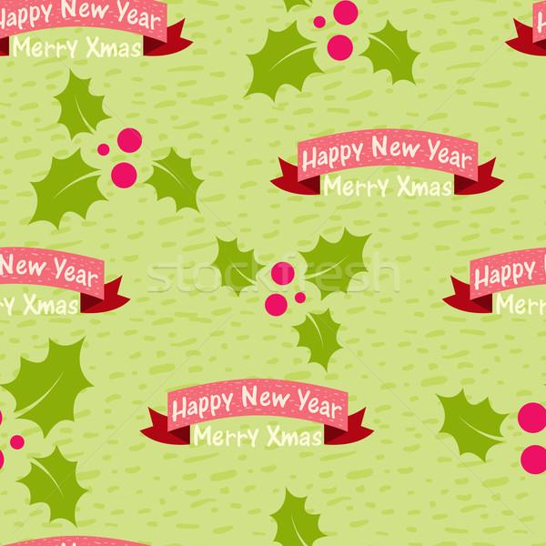 Christmas nieuwjaar naadloos woorden gelukkig achtergrond Stockfoto © sabelskaya