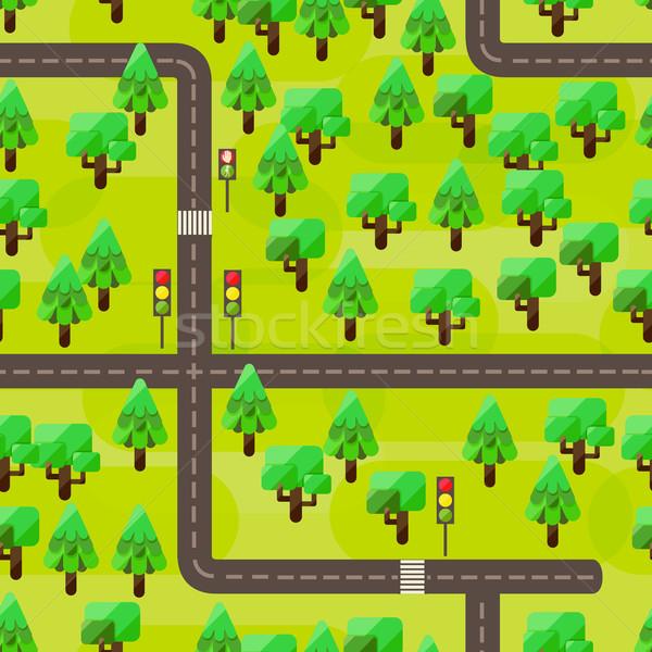 Mapa estilo resumen árbol madera forestales Foto stock © sabelskaya