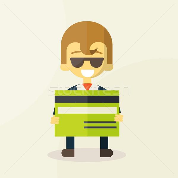 Illustratie man tonen creditcard geld winkelen Stockfoto © sabelskaya