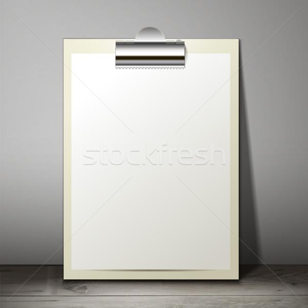 Branco papel folha clipboard em pé tabela Foto stock © sabelskaya