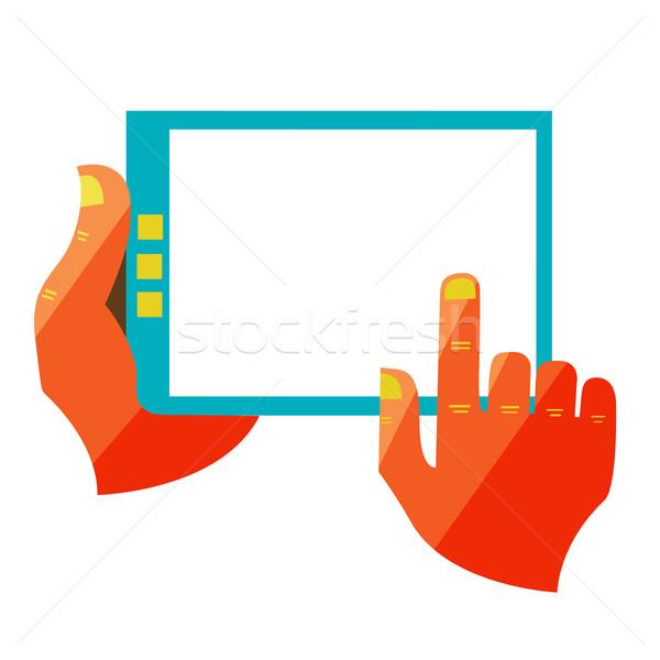 Mão tela sensível ao toque digital comprimido projeto moderno Foto stock © sabelskaya