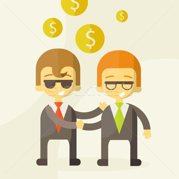 Dois homem falante negócio dinheiro reunião Foto stock © sabelskaya