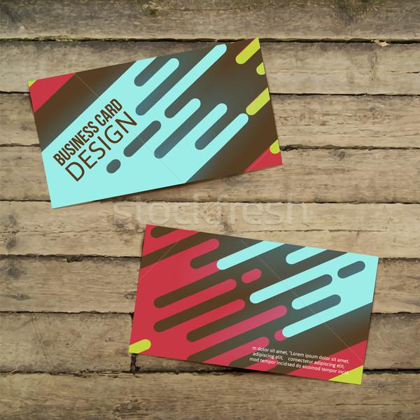 Creativa tarjeta de visita mesa de madera eps 10 negocios Foto stock © sabelskaya