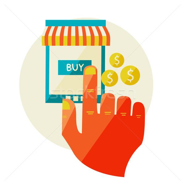 Compras on-line venda laptop projeto moderno Foto stock © sabelskaya
