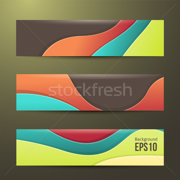 set of abstract colorful banners. three background. Business design template. Stock photo © sabelskaya