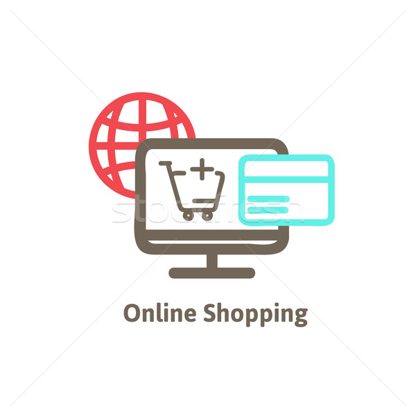 Winkelen online icon kopen vector business Stockfoto © sabelskaya