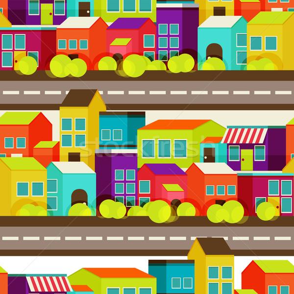 Cidade padrão sem costura colorido casas Foto stock © sabelskaya