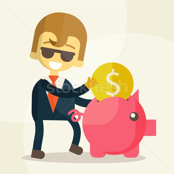 Zakenman munt spaarvarken vector eps10 geld Stockfoto © sabelskaya