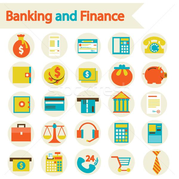 Bancário financiar eps 10 conjunto ícones Foto stock © sabelskaya