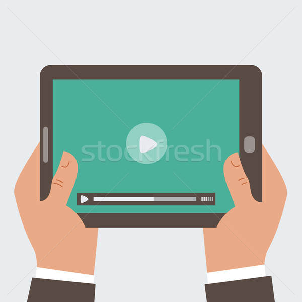 Businessman holding tablet computer with blank screen 2 Stock photo © sabelskaya