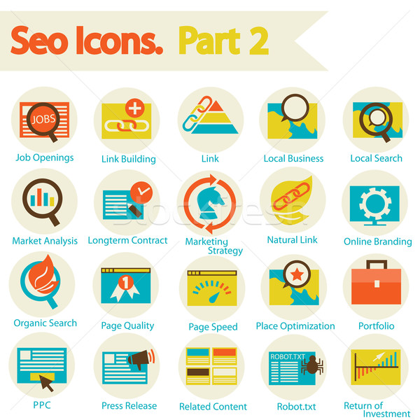 SEO icons set part 2 Stock photo © sabelskaya