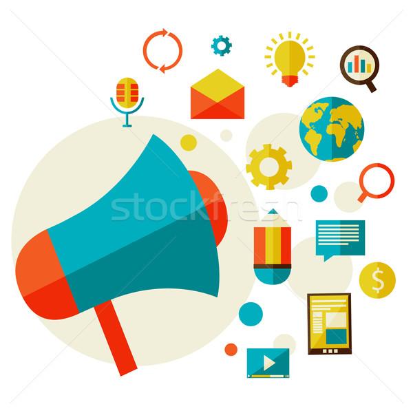 Digitale marketing stijl ontwerp moderne ingesteld Stockfoto © sabelskaya