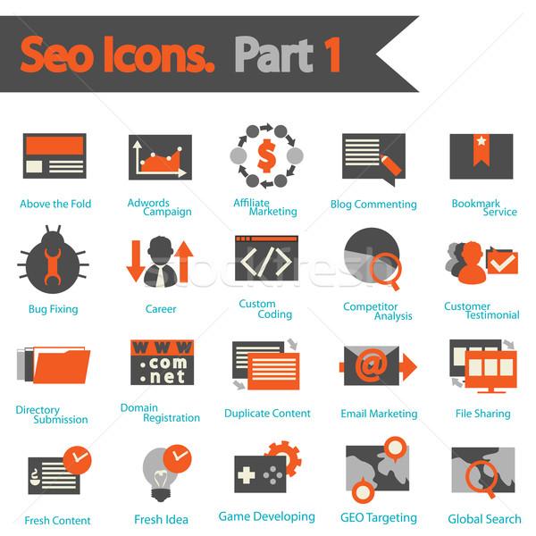 SEO icons set part 1 Stock photo © sabelskaya