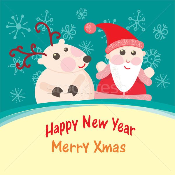 Karácsony új év üdvözlőlap mikulás szarvas boldog Stock fotó © sabelskaya