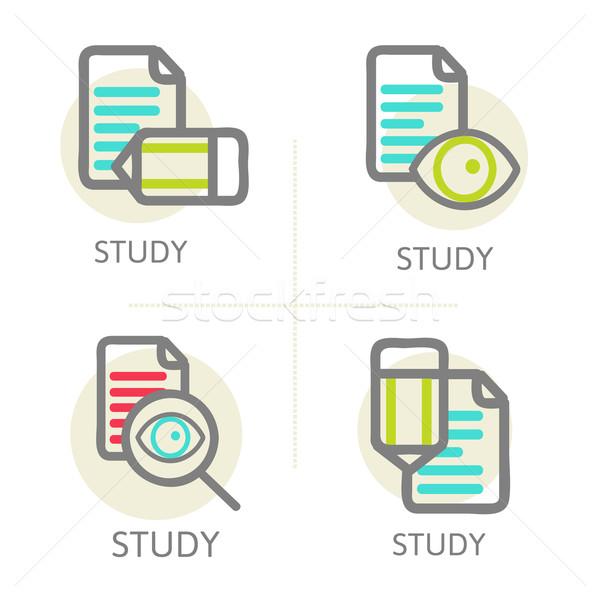 Establecer línea diseno iconos educación aprendizaje Foto stock © sabelskaya