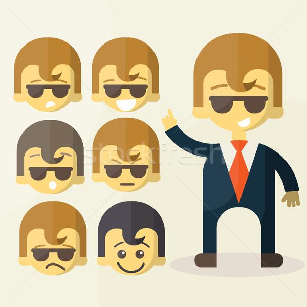 Ingesteld cartoon kantoormedewerker grappig presentaties Stockfoto © sabelskaya