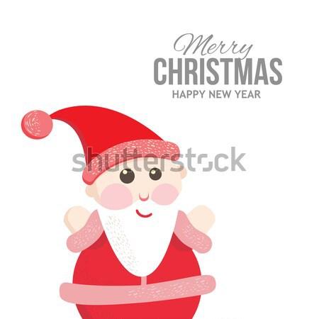 Papai noel alegre natal etiqueta férias convites Foto stock © sabelskaya