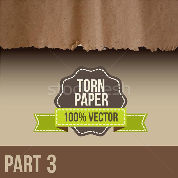 грубая оберточная бумага Torn край третий текстуры дизайна Сток-фото © sabelskaya
