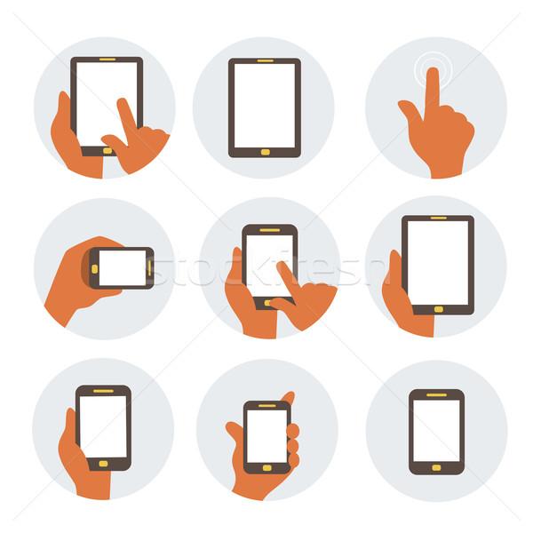 Mobiele communicatie iconen eps 10 computer Stockfoto © sabelskaya