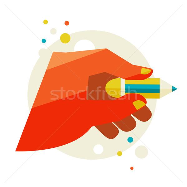 Mão lápis projeto moderno elegante Foto stock © sabelskaya