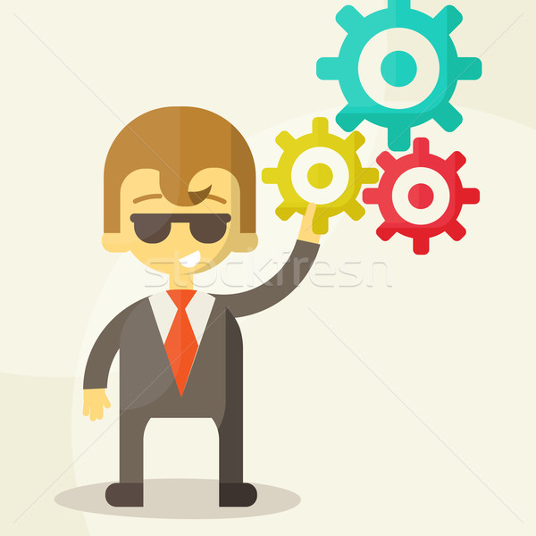 Businessman with the gears. Brain storming, successful business idea concept. Vector illustration Stock photo © sabelskaya