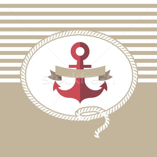 Mar cartão âncora corda eps 10 Foto stock © sabelskaya