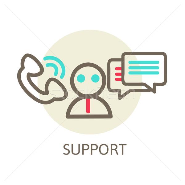 Hoofdtelefoon contact live helpen ondersteuning icon Stockfoto © sabelskaya