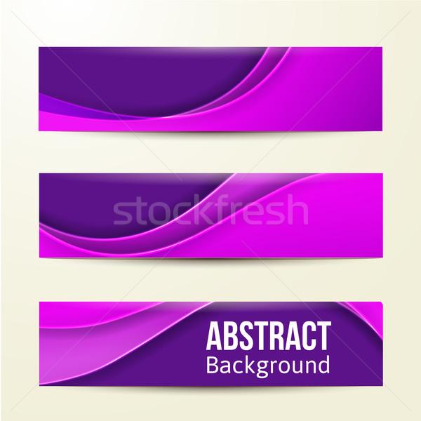 Ingesteld abstract paars banners drie business Stockfoto © sabelskaya