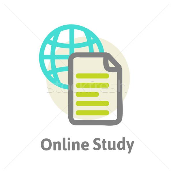 Online leren procede boek internet technologie Stockfoto © sabelskaya