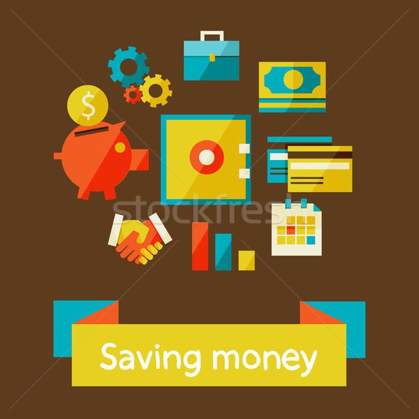 Takarékosság pénz terv modern elegáns színek Stock fotó © sabelskaya