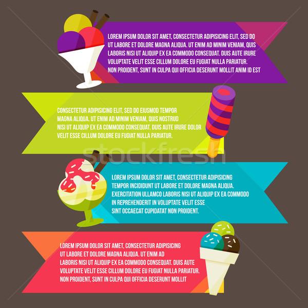 Decorative ice cream paper banners set Stock photo © sabelskaya