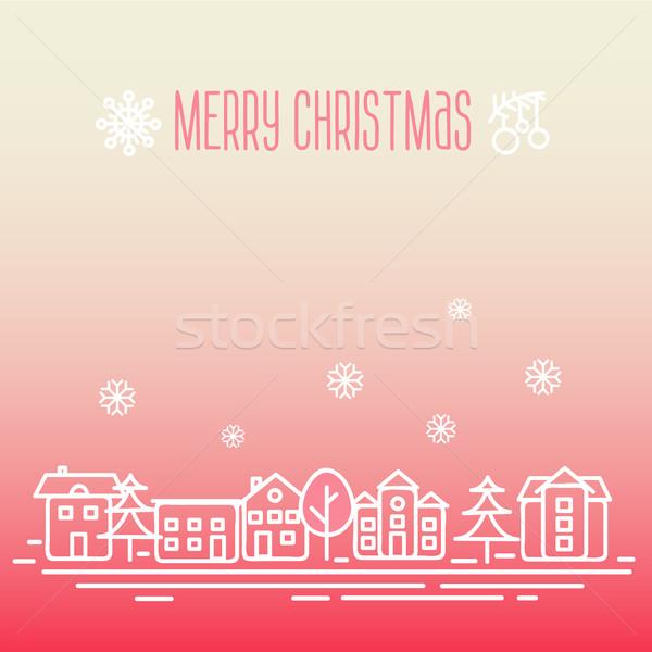 Christmas wenskaart vrolijk boom landschap straat Stockfoto © sabelskaya