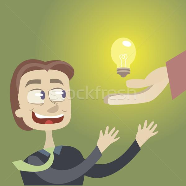 輝かしい アイデア ビジネスマン ルックス 燃焼 電球 ストックフォト © sabelskaya